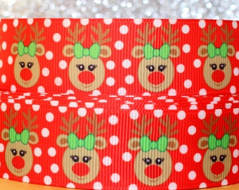 """1"""" Christmas Ribbon Grosgrain Ribbon by the Yard Rudolph Ribbon Reindeer Ribbon for Christmas Gift, Christmas Party, Hair Bow, or Wreath"""