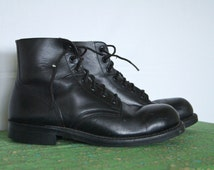 Vintage 90s Grunge Boots Biltrite Sole . Size 8 D US . 7-hole Steel Toe Military Army Boots . Combat Boot . D027