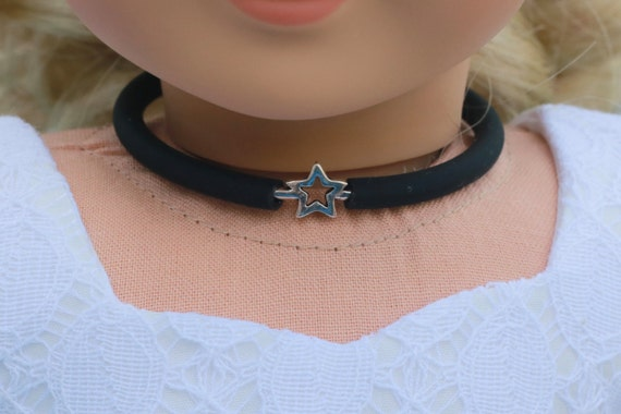 Doll Accessories | STAR Charm CHOKER NECKLACE in Black or Frosted White for dolls such as American Girl Doll