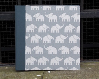 Baby grey photo album, photo album, photo album grey elephant, photo book, confirmation gift, personalizable, grey with elephants