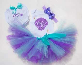 Mermaid Outfit / First Birthday Outfit Baby Girl / Mermaid birthday / Under the sea birthday outfit  / Mermaid 1st Birthday out