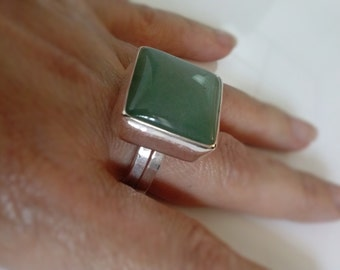 Square Aventurine Silver Ring Handmade with a  large Green gemstone, Statement, Cocktail ring , Fashion Jewelry