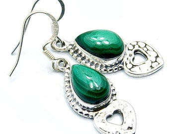Queen of the Forest Malachite & .925 Sterling Silver Dangle Earrings ; W155 The Silver Plaza