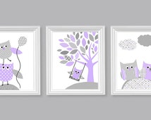 Owl Nursery Art Gray and Lilac Woodland Nursery Decor Set of 3 Prints Baby Girl Decor Baby Shower Gift Owl Canvas Art Purple Owl Prints Kids