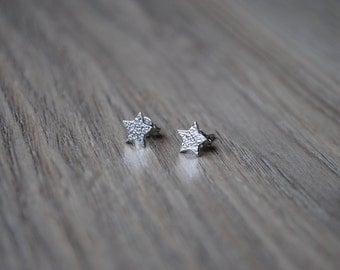 "Star nails, ""Etoile"" palque 925 Silver earrings."