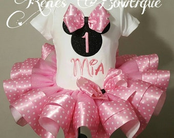 Minnie Mouse Birthday Ribbon Tutu Set | Birthday Party Outfit | Pink Minnie Mouse