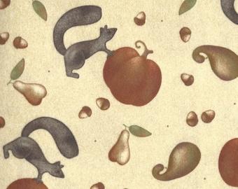 Maywood Studio - Autumn Bounty Flannel - Pumpkins Squirrels - Cream Background - Designer Bonnie Sullivan  By the Yard