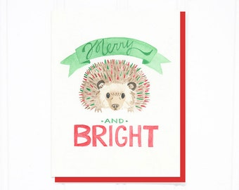 Merry and Bright: Hedgehog Christmas Card - Hedgie Greetings!