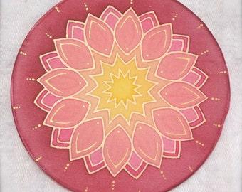 Mandala, Silk painting, No 0134, 15cm - 6 in Ø  diametre