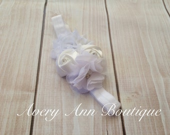 White Headband, Flower Girl Headband, Baby White Headband, Newborn White Headband, Flower Headband, Holiday Headband, First Birthday