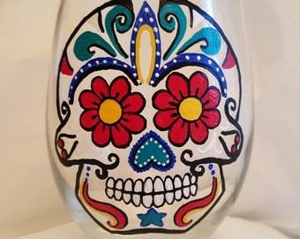 Sugar Skulls, Sugar Skull Gift, Dia De Los Muertos, Sugar Skull Wine Glass, Hand Painted Sugar Skull, Mexican Folk Art, Day Of The Dead
