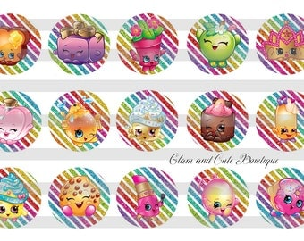 "Shopkins INSTANT DOWNLOAD Bottle Cap Images 4x6 sheet 1"" circles"