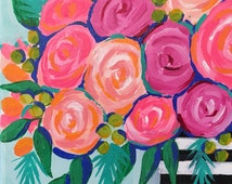 On Wednesdays We Wear Pink, original floral painting on canvas, girly home decor