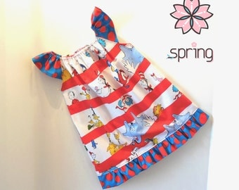 Girls Toddler Baby Dr. Seuss Cat In The Hat Flutter Sleeve Ruffle Peasant Dress Sizes NB to 6