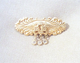 80's Ornate Brass Lapel Pin w/ Crystal Dangles, Ladies Brooch, Scarf Pin, Romance, Victorian Style