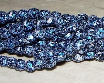 NEW CZECH Granite Galaxy Lapis Round Fire Polished Beads - 4x4MM