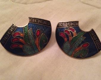 Cloissone Pierced Earrings