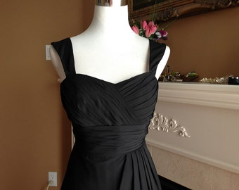 Black bridesmaid dress, Prom dress 2016 - Straps with sweetheart neckline chiffon dress