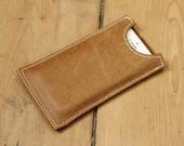 Real Genuine Leather iPhone 5 / iPhone 5s Sleeve Sheath Case Handmade Tan Brown
