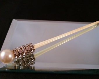 Rhinestone encrusted celluloid hair pin stick with pearl accent vintage