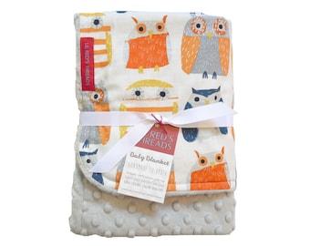 Minky Baby Blanket in Hootie Patootie - Designer fabric Minky Baby Blanket - Boutique baby blanket - gender neutral, owl, grey, orange, navy