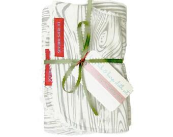 SALE RACK Bib and Burp Cloth Set in Gray Woodgrain - Boutique baby bib and burp cloth set - cotton chenille - woodland, neutral