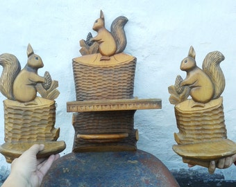 Set of 3 Vintage Rustic Hand carved Shelves, Squirrels Rustic Decor, Country Decor, Display Shelves, Wooden Shelves, Reclaimed Wood