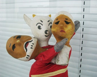 Set of 3 Vintage 1930's paper mache and cotton hand puppets. Kid, grandmother and grandfather