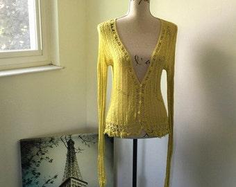 Rare James Coviello for Spiegel lace cardigan sweater Sz S