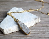 Druzy Drop Necklace, White and Gold Long Druzy Drop Necklace