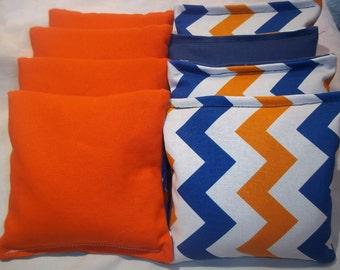 8 ACA Regulation Cornhole Bags - Chevron Stripes in Orange and Blue on White and Solid Orange