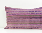 "RARE VINTAGE Hand Woven Hemp Organic Patch Work Embroidered Textile Ethnic Piece Tradition Costume pink Indigo Lumbar Pillow Case 12"" x 20"""