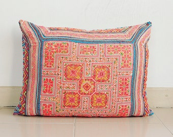 Chinese wedding blanket Boho Bohemian HMONG ikat Aztec Kilim Textile Embroidered Ethnic Made Tradition Costume Pink Pillow Case