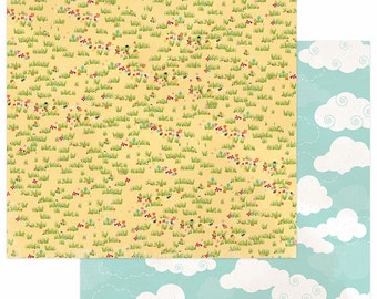 2 Sheets of Photo Play Paper HAPPY GLAMPER 12x12 Scrapbook Cardstock - Field of Flowers (Camping Theme) HG2249