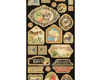 Graphic 45 SAFARI ADVENTURE 6x12 Sheet of Chipboard 2 Die-Cuts
