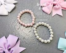 Newborn Baby Bracelet, Infant Pearl Bracelet, Glass Pearl Bracelet, Ivory or Pink, Newborn Photo Prop, Fits Newborn-2T, Bulk Wholesale