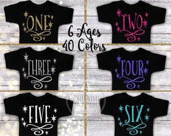 Birthday Girl Shirt, Design Your Own, Custom Birthday Shirt 1st-6th Birthdays, 40 Colors, Sparkle Birthday Shirt, Trendy Birthday Outfit