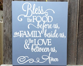 Bless this Food Before Us Wood Sign Bless the Food Sign Kitchen Decor Food Blessing Prayer Dining Room Wall Decor Kitchen Signs 12x15""