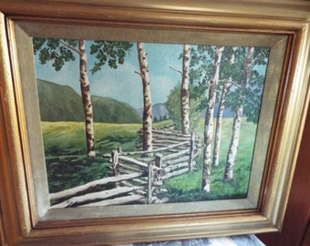 """27""""  country road  oil painting Appalachian  landscape birch trees split rail fence American impressionist"""