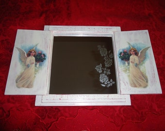 """Wall mirror with two shutters """"Angels in the rose garden"""" 25/25 cm. Decoupage and decorative techniques, vintage chic, art mirror"""
