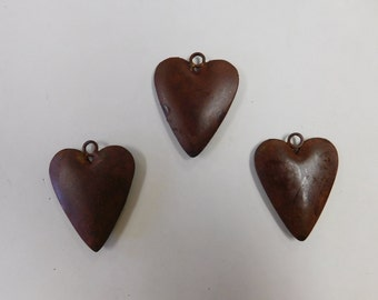 3D Heart made out of rusted metal comes as set of three (3)