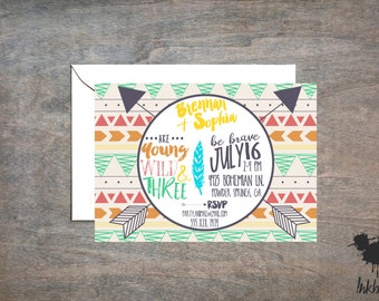 Young, Wild & Three Invitation (25 Invitations)