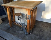 Antique Drafting Table Table W/ Swing Out Stool 1920s Industrial Draftsmen Desk