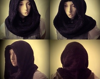 Lisbeth Jedi Hood, knit scarf,knit scarves, hooded scarf,hooded scarves,knit scarf,alt,goth,kawaii,fashion scarf,soft scarfs,star wars