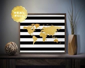 Gold world map world map real gold foil art print world map striped world map real gold foil art print 4 x 6 5 x 7 gumiabroncs Choice Image