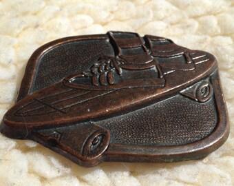 vintage 70's skateboard belt buckle