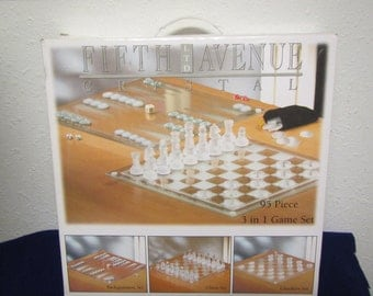 FIFTH AVENUE CRYSTAL 95 pc. 3 in  One Set : Backgammon, Chess , Checker Set