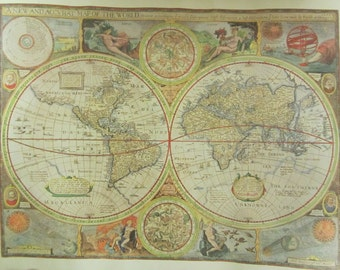 """vintage Reproduction 0f a 1651 """" A New and Accurat Map of The World """"  in authentic colors of the  original print"""