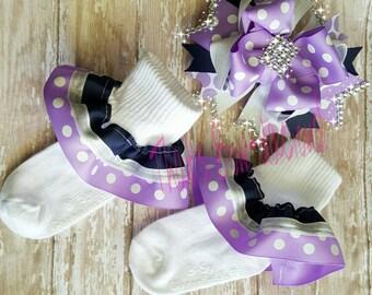 Lavender Ruffle Sock Purple Ruffle Socks Navy Ruffle Socks Purple and Navy Ruffle Socks