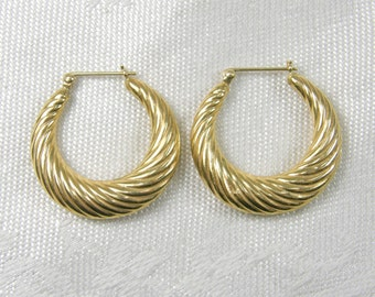 Large & In~Charge14K Yellow Gold Hoop Earrings